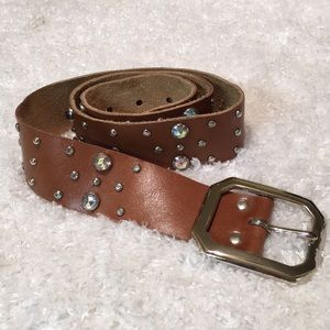 Cache Jeweled Brown Leather Belt A-32